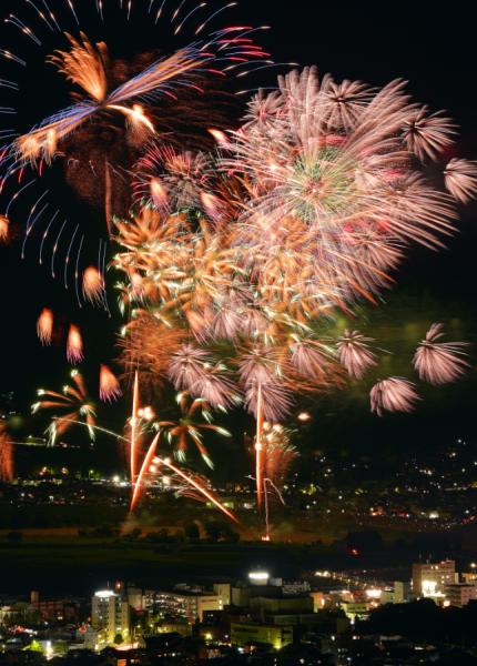 「日本煙火芸術協会」の特選玉が亀岡の夏の夜空を彩ります。